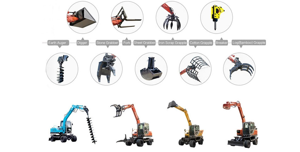 Optional excavator working devices of JingGong excavator manufacturer china