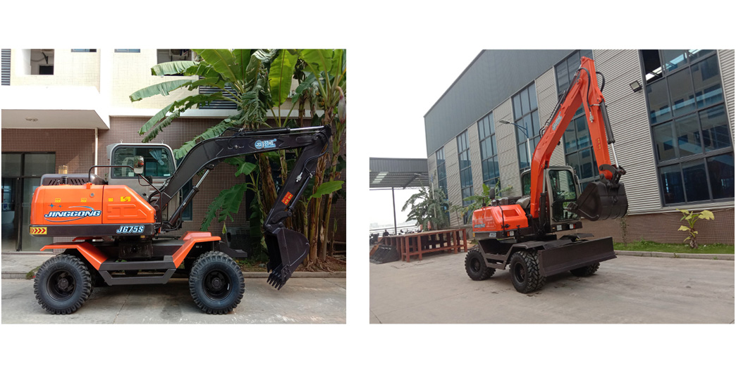 excavator of JingGong hot sale small wheel excavator