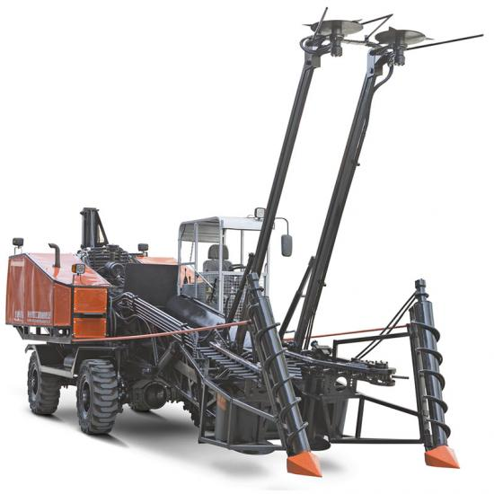 wheeled whole stalk sugarcane combine harvester